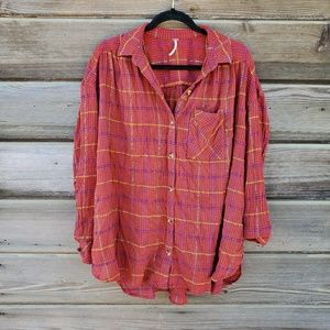 Free People - Red Oversized Flannel